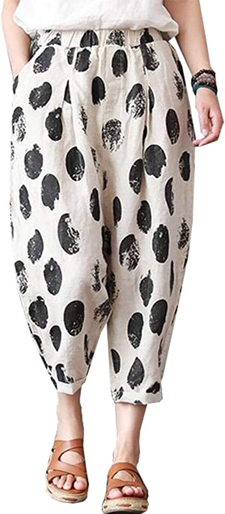 Ladyful Women's Printed Cotton Linen Haren Pant Casual Summer Trouser