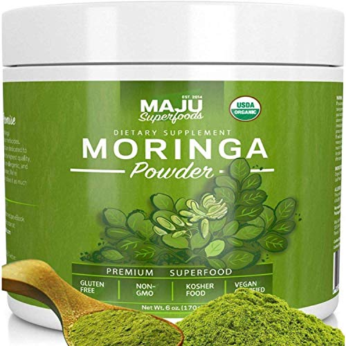 MAJU's Organic Moringa Powder, Oleifera Leaf, Extra-Fine Quality, Dried Drumstick Tree Leaves, Tea, Smoothies, Food-Grade