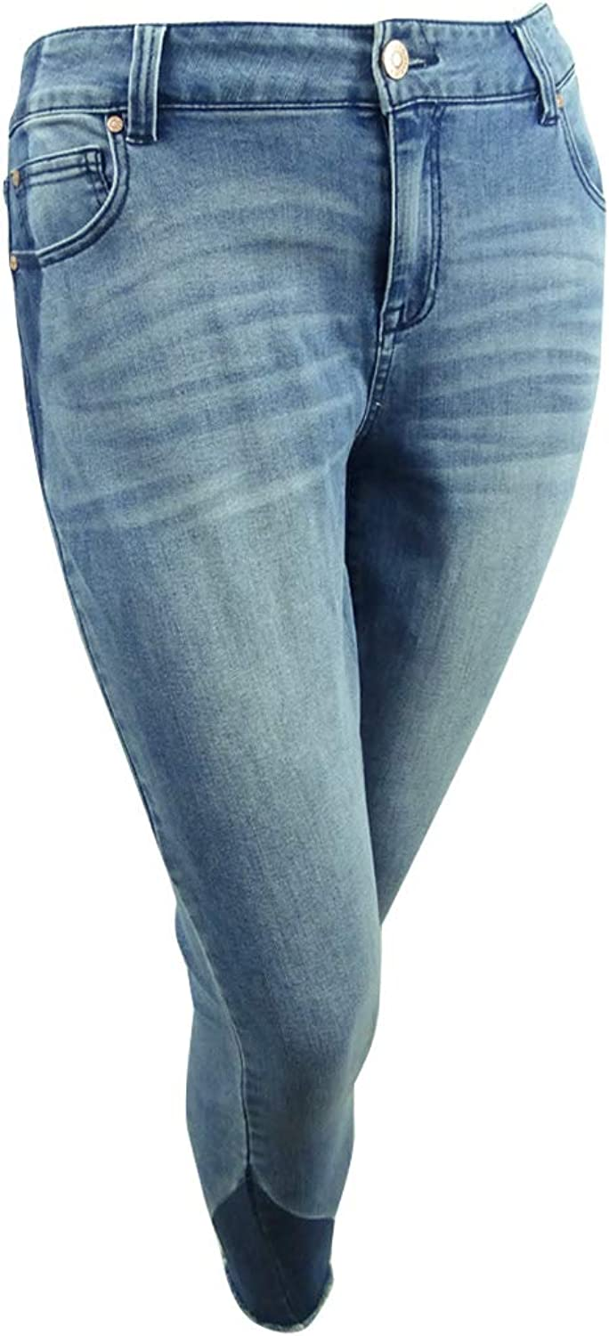 CelebrityPink Womens Plus Ankle Two Tone Skinny Jeans