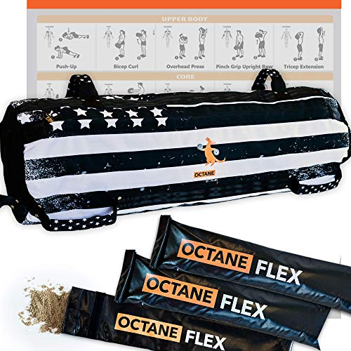 Octane Flex Adjustable Sandbags for Fitness 75lbs - Home Workout Sandbag Set with 3 x Filler Bags and Exercise Poster - Training Weighted Sand Bag Equipment with Handles for Gym & Crossfit USA (75)