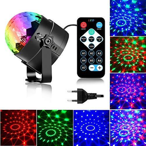 Luces de fiesta activadas por sonido con control remoto Iluminación de DJ, bola de discoteca RBG, lámpara estroboscópica 7 modos de luz de escenario para fiestas de baile en casa, cumpleaños, DJ