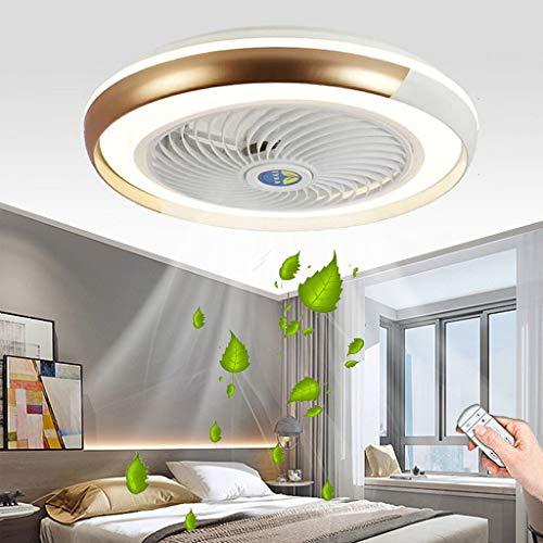 Ventilador De Techo Con Iluminación Moderno Silencioso LED Regulable Lámpara De Techo Ventilador De Velocidad Del Viento Ajustable Luz De Techo Habitación De Los Niños Dormitorio Oficina Fan (Gold)