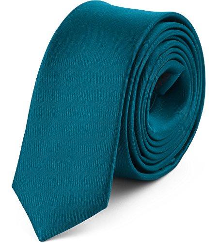 Ladeheid Corbatas Estrechas Diversidad de Colores Accesorios Ropa Hombre SP-5 (150cm x 5cm, Esmeralda Oscuro)