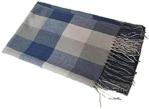 chenghuax Invierno Long Suave Tartán Tartán Cálido Comprobar Bufandas Wraps for Mujeres de Lana Spinning Tassel Shawal Toallas y Bufandas Azules y Grises (Color : Blue+Gray, Size : 200 * 60)