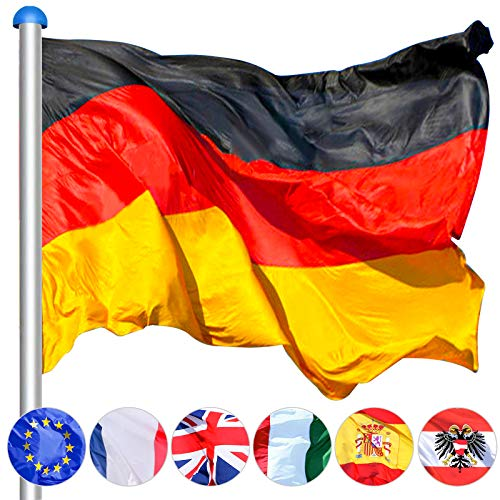 Hengda Aluminium Fahnenmast Stabil 6,5m + 150 * 90cm Deutschlandfahne,witterungsbeständigem Flaggenmast höhenverstellbar für draussen