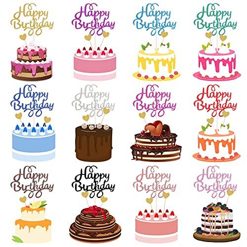 FRIUSATE Juego de 12 adornos para tartas de cumpleaños para niños, niñas, jóvenes, fiestas de bebés