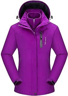 Women's Autumn Winter Solid Waterproof Hoodie Detachable Outdoor Sport Coat Top Warm Pullover Parka Outerwear