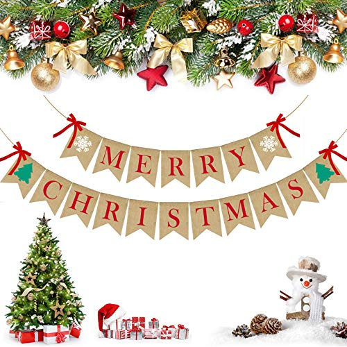PACETAP Merry Christmas Burlap Banner with 4 Red Bows,Winter Holiday Bunting,Vintage Decorations for Wall, Tree and Fireplace,Christmas Chimney Decorations,Home Garden Indoor Outdoor Banner