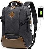 Vintage Backpack for Men, Kasqo Canvas Laptop Backpack for School with USB Port