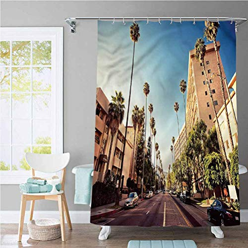 ScottDecor Urban Country Shower Curtain Beverly Hills Street View Super Soft, Easy Care 60 x 72 Inch