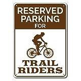 Letrero de estacionamiento de bicicletas Letrero de chapa de metal Letrero de metal, Decoración Trail Rider, Regalo para motociclista, Letrero de ciclista, Regalo para amantes de la bicicleta-20x30cm