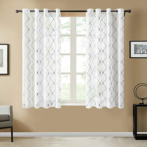 Top Finel White Short Sheer Curtains 45 Inch Length Grey Embroidered Diamond Grommet Window Curtains for Living Room Bedroom, 2 Panels
