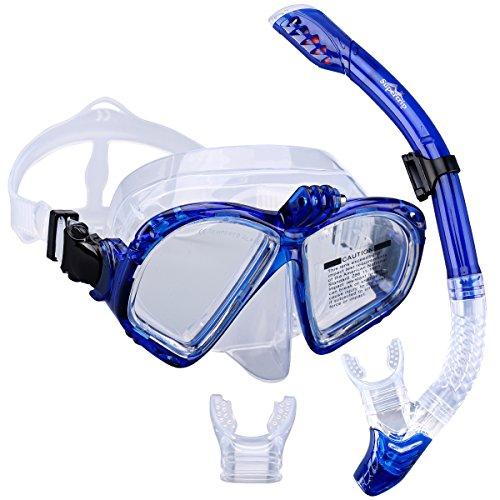 Supertrip Premium Schnorchelset erwachsene Taucherbrille mit Schnorchel Tauchset Tauchmaske mit kamera halterung Tauchen dry Schnorcheln Set (Blau)