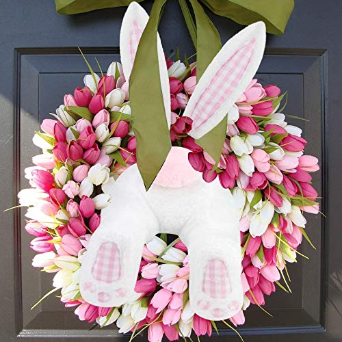 KJIUQ Easter Bunny Wreath,Easter Wreath Door Signs, Easter Thief Bunny Butt with Ears,Easter Rabbit Shape Garland for Outdoor Door Wall Decor,Cartoon Bunny Shape Ornaments Easter decoration (Pink)