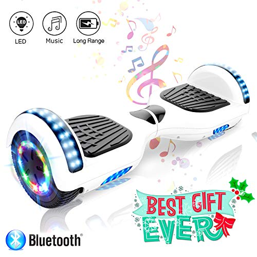 COLORWAY 6,5 Zoll Elektro Skateboard Elektro Scooter Smart Hoverboard Self Balance Board - Bluetooth - LED Räder - 350W*2 Motor
