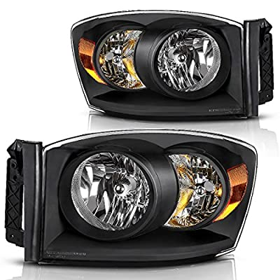 Headlight Assembly for 2006-2008 Dodge Ram 1500 2500 3500 Pickup Replacement Headlamp Driving Light Chromed Housing Amber Reflector Clear Lens,2 Year Warranty (Pair)