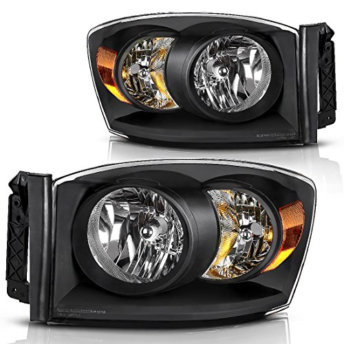 AUTOSAVER88 Headlight Assembly Compatible with 2006-2008 Dodge Ram 1500 2500 3500 Pickup Replacement Headlamp Driving Light Black Housing Amber Reflector Clear Lens