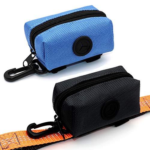 SLSON 2 Stück Hundekotbeutel,Pet Waste Rubbish Poop Bag Halter für Leine,Universal Dog Bag Poop Dispenser mit Reißverschluss (Schwarz und Blau)