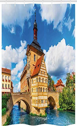 ABAKUHAUS Reizen Douchegordijn, Stadhuis Duitsland, voor Douchecabine Stoffen Badkamer Decoratie Set met Ophangringen, 120 x 180 cm, Veelkleurig