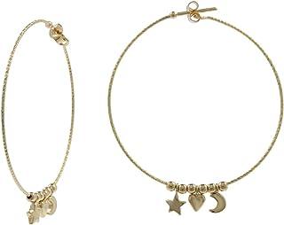 Gioiello Italiano - Orecchini a cerchio in oro 14kt con stella, cuore e luna, diametro 4.5cm, per donna e ragazza