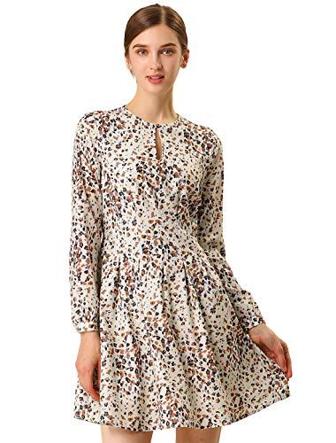 Allegra K Women's A-line Pleated Fit and Flared Leopard Dress XS Beige