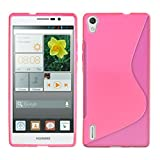 kwmobile Huawei Ascend P7 Hülle - Handyhülle für Huawei Ascend P7 - Handy Case in S-Line Design Pink Transparent