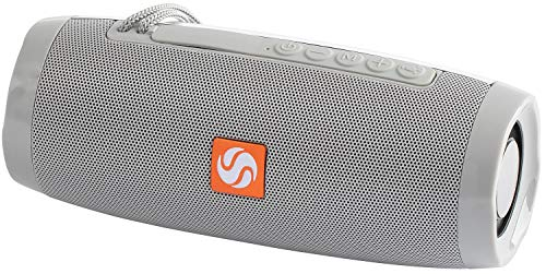 SilverOnyx Bluetooth Speakers Portable Wireless Waterproof Speaker with Lights, Loud Clear HD Stereo Sound, Rich Bass Subwoofer, Built-in Microphone, IPX-6 for Shower, Home, Travel - 157 Grey