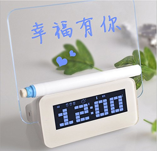 HHIAK666 Message Board Uhr, Kreative Elektronische Romantische Fluoreszenz-Board-Wecker 8Cm Blaulicht A
