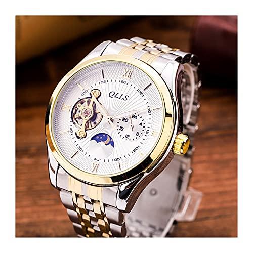 KOLOSM Relojes De Pulsera Reloj De Negocios Menores BLU-Ray Superficie Moon Sprinkles Maquinaria De Los Hombres Masculino Totalmente Impermeable (Color : Golden)