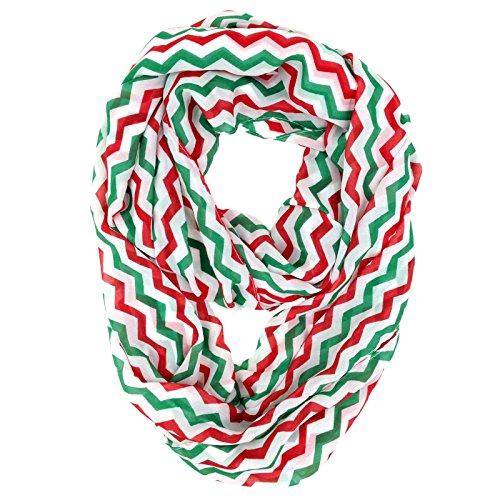 Tapp C. Vertical Chevron Sheer Infinity Scarf - Green/Red/White