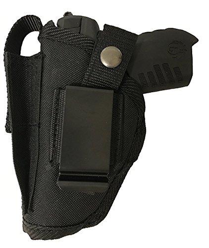 Bama Belts and Leathers Gun Holster fits Colt 380 Government Model Black Nylon Ambidextrous Use Left or Right Built in Magazine Holder Adjustable Retention Strap Gun Slinger Holster