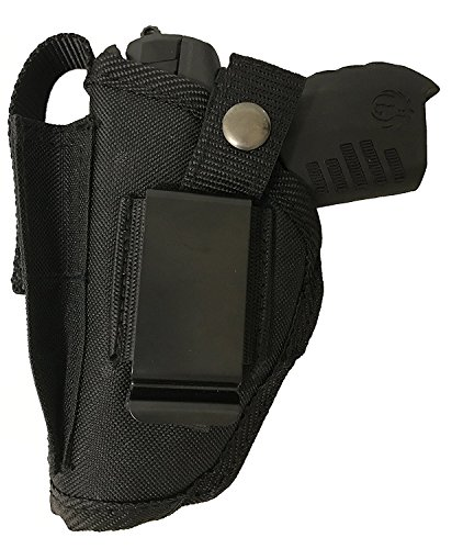 Bama Belts and Leathers Gun Holster fits Colt 380 Government Model Black Nylon Ambidextrous Use Left or Right Built in Magazine Holder Adjustable Retention Strap Gun Slinger Holster