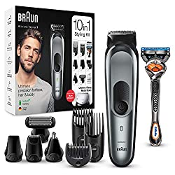 Rechargeable all-in-one wet and dry trimmer with unprecedented cutting performance vs previous generations of Braun beard trimmers 10-in-1 trimmer for beard, face, hair, beard, body, ear and nose trimming and a free Gillette Fusion5 ProGlide razor fo...