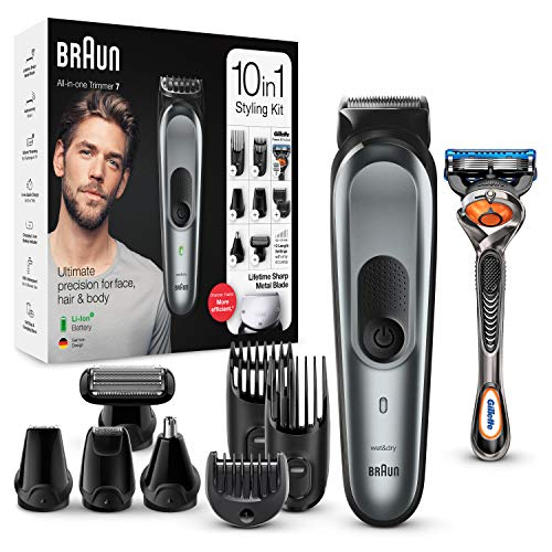 Braun 10-in-1 Beard Trimmer, With Hair & Nose Trimmer & Gillette Razor, For Face & Hair Trimming, Body Grooming & Clean Shaving, Men's Gift Set, 2 Pin Bathroom Plug, MGK7221, Dark Grey