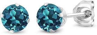 Sterling Silver London Blue Topaz Stud Earrings 0.60 cttw Gemstone Birthstone Round 4MM