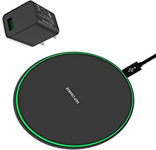 Wireless Charger, Qi-Certified 10W Max Wireless Charging Pad with QC3.0 AC Adapter, Universal Wireless Charging Pad Compatible for Smart Phones (Including AC Adapter,1 Pack)