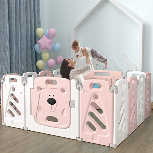 YOOVEE Baby Playpen, Assembly-Free Baby Activity Center Foldable Baby Safety Play Yard with Non-Slip Foot Mats & Safety Lock, 14 Panels Adjustable Shape Bear Baby Fence (Pink & White)