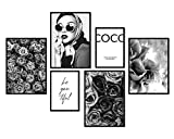 bilderreich Premium Poster Set Coco Blanco y Negro | Deko Cuadros Salón Moderno | Dormitorio Imagen para la pared | sin marco | 4x DIN A4 y 2x DIN A5| Coco SW