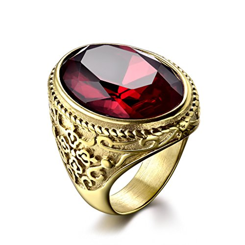 MASOP Titunium Steel Cocktail Rings for Men Gold Tone Oval Red CZ Cubic Zirconia Jewelry Size 9