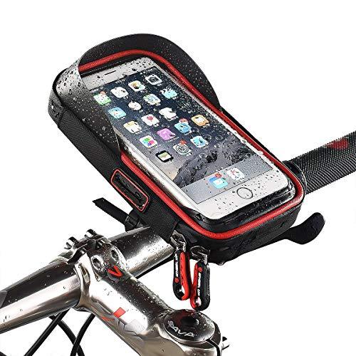 HaiQianXin Funda Impermeable para Motocicleta Moto Funda para teléfono + Soporte para Manillar (Color : Black+Red)