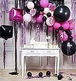 PartyWoo Luftballons Dunkelrosa, Luftballons Rosa Schwarz Satz von Luftballons Dunkelrosa,...