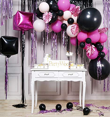 PartyWoo Felroze Ballonnen, Pak Zwarte Ballonnen, Felroze Ballonnen, Pastel Roze Ballonnen, 4D Folie Ballonnen, Folie Fringe Gordijn En Bladeren Voor Roze Zwarte Feestdecoraties, Vrijgezellenfeest