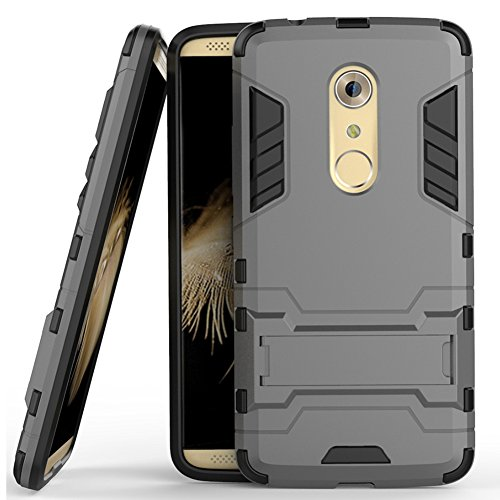 Axon 7 Case, ZTE Axon 7 Case, MicroP(TM) Dual Layer Armor Hard Slim Hybrid Kickstand Phone Cover Case for ZTE Axon 7 (Gray Kickstand Case)
