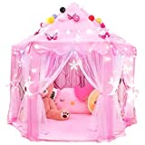 RISEMART Princess Castle Tent for Girls with LED Lights, (55'x 53') Large Space Play Tent for Kids Toy for Indoor Outdoor Playhouse, Gift for 2 3 4 5 6 7 Year Old Girl