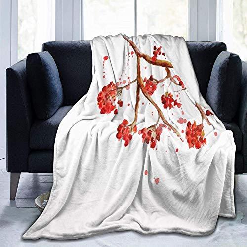AEMAPE Rowan Tree Acuarela Salpicaduras Microfibra Toda Temporada Manta Caliente Throw Blanket para Sala de Estar/Dormitorio/sofá sofá