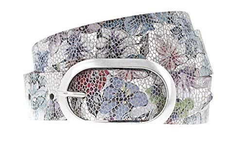 Vanzetti Damen Leder Gürtel Metallic Damengürtel 30 mm Ledergürtel mit floralem Print (90 cm)