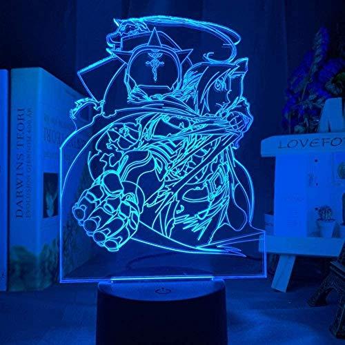 GEZHF Figura de Edward Elric completamente de metal de Alquimista Edward Elric, luz nocturna LED que cambia de color para niños, dormitorio, luz nocturna USB para escritorio