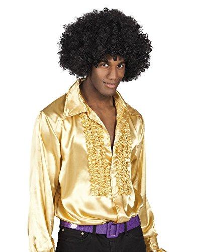 shoperama 70er Jahre Rüschen-Hemd für Herren Siebziger Disco Schlagermove Bad Taste , Größe:M;Farbe:Gold