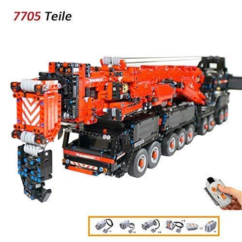 TopBau Technik Kran Custom Bausteine mit Funktionsfähig Motor, 7705 Teile großes LiebherrKran Kompatibel mit Großen Marken