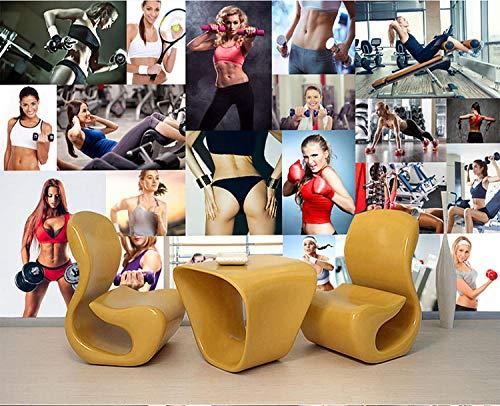 YSJHPC 3d Papel pintado Mural Athletic Gym Clubhouse Fitness Belleza Fotos Papel pintado Auto-definición Autoadhesivo Cartel Fotos Moderno Arte Papel pintado Tienda de café Restauran(W) 200x (H) 100CM